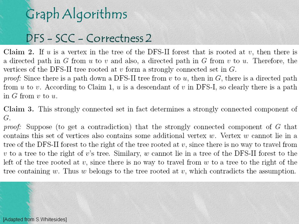 DFS - SCC - Correctness 2 [Adapted from S.Whitesides]